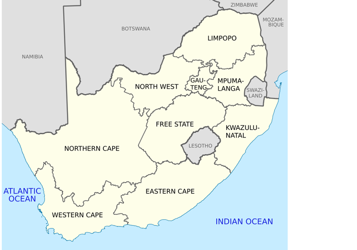 Map with business and sales areas in South Africa.